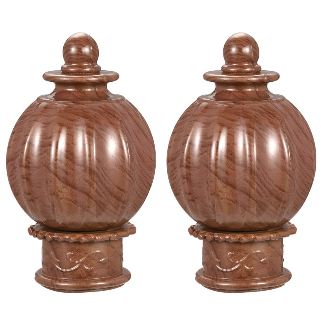 uxcell Curtain Rod Cap Finials Plastic Vintage Style Drapery Rail Ends for 28mm Dia Rod Wood Color 63 x 107mm 2 Pcs