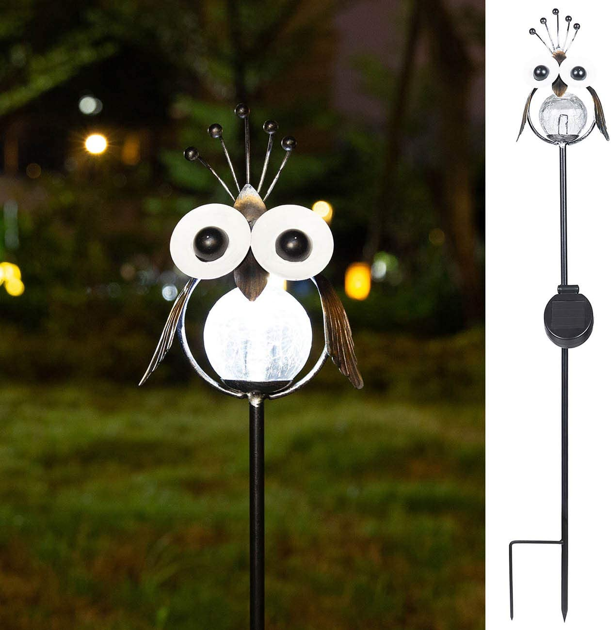 Jy.Cozy Garden Solar Owl Decorative Lights Outdoor Pathway Crackle Glass Globe Stake Metal Lantern Waterproof Warm White LED for Lawn Patio Courtyard