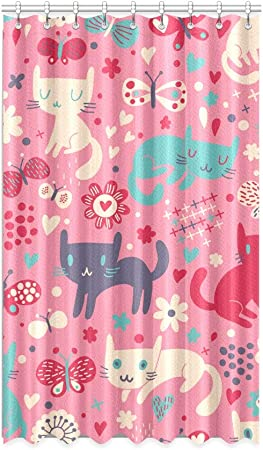 N A Girls Blackout Curtain Animal Cat Love Heart Kids Blackout Curtains 50 X 84 Inch One Piece For Patio Sliding Glass Door Bedroom Amazon Co Uk Kitchen Home