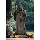 Design Toscano Rest in Pieces Grim Reaper Halloween Tombstone Gothic Decor Garden Graveyard Statue, 25 Inch, Polyresin, Greystone