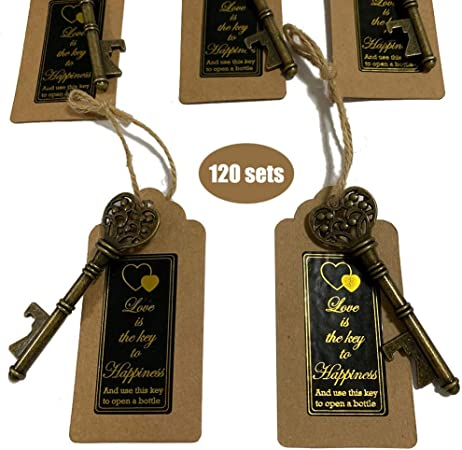 Key Bottle Openers 120 packs- with Escort Tag Card, Love is the Key to Happiness Sticker, Wedding Party Favors, Thanksgiving, Baby Shower and Special Events Decoration Bronze Vintage Style