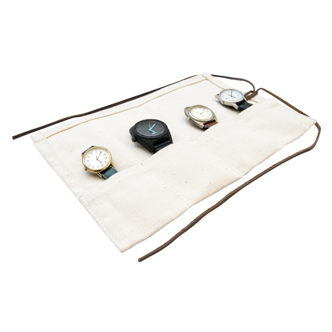 Durable Canvas Travel Watch Roll Organizer Holds Up To 4 Watches Handmade by Hide & Drink