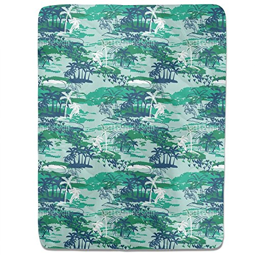 Paradise Island Green Fitted Sheet: King Luxury Microfiber, Soft, Breathable by uneekee