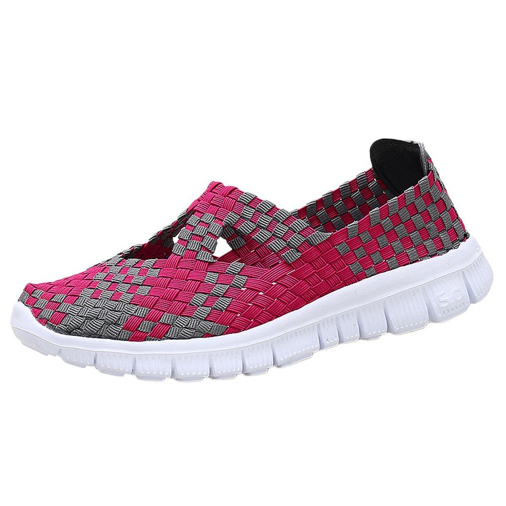 Kauneus Women Woven Shoes Slip On Handmade Sneakers Comfort Lightweight Walking Shoes Hot Pink by Kauneus Fashion Shoes