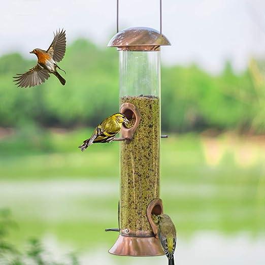 JHhomezeit - Comedero para pájaros Silvestres para jardín Exterior con 4 Postes en Forma de T y Puertos de alimentación y Mango Ajustable - 15 x 4, 3 x 4, 3 Pulgadas: Amazon.es: Jardín