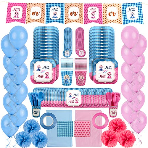 24-Person Gender Reveal Party Supplies Kit for Boy or Girl {215 Pieces} {Matching Blue and Pink Plates, Utensils, Cups, and Linens} {Gender Reveal Decorations and Balloons} {Fun Stickers, Banners}