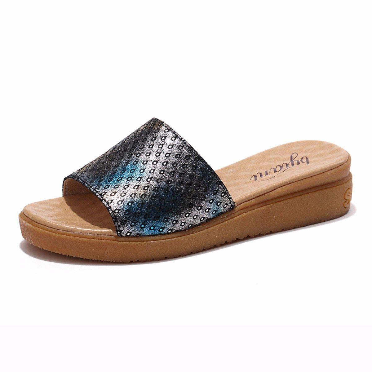 QPSSP Pantoffeln Und Flachen Boden - Schuhe, Sandalen Und Slipper, Sandalen, Sandalen, Damen - Schuhe.  Forty|black