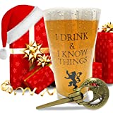 I Drink and I Know Things Beer Glass + FREE Hand Of The King Bottle Opener Made In Casterly Rock – Game Of Thrones Inspired – With Gift box included by Desired Cart
