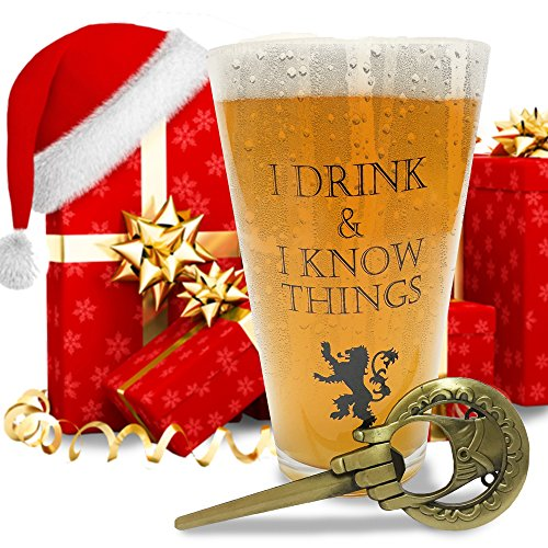 1. I Drink and I Know Things Beer Glass + FREE Hand Of The King Bottle Opener Made In Casterly...