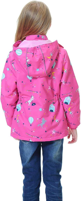 TOZEYSAN Girls Fleece Lined Waterproof Jacket Lightweight Windbreaker Raincoat