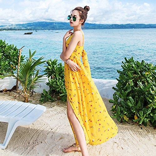 XIU*RONG Eslingar Vestir Falda Larga Falda De Playa De Vacaciones Junto Al Mar Bright yellow