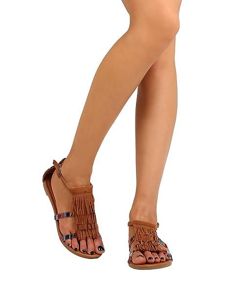 0bcf62db2cfc Betani Women Faux Suede Open Toe Fringe Gladiator Sandal FJ77 - Tan (Size   6.5