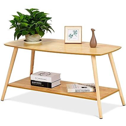 COSTWAY Table Basse en Bois Table d\'appoint 15mm MDF Table Basse de Café  pour Bureau, Jardin, Salon,Balcon 100 * 50 * 51.2cm