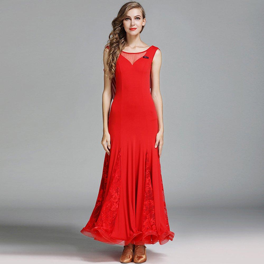 現代の女性の大きな振り子ホットアイスシルクモダンダンスドレスタンゴとワルツダンスドレスダンスコンペティションスカートレースなし袖ダンスコスチューム B07HHPR51Y Large|Red Red Large