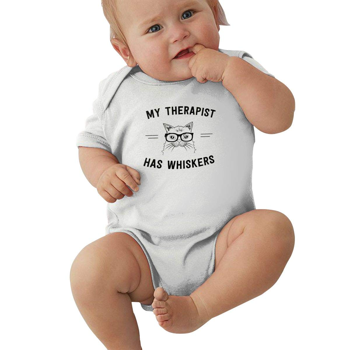 Dfenere My Therapist Has Whiskers Graphic Newborn Baby Short Sleeve Bodysuit Romper Infant Summer Clothing Pink