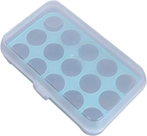 Covered Deviled Egg Holder for Refrigerator, Plastic Egg Container Food Boxes, Portable Stackable Tray Eggs Storage Box, Fits 15 Eggs (Blue)