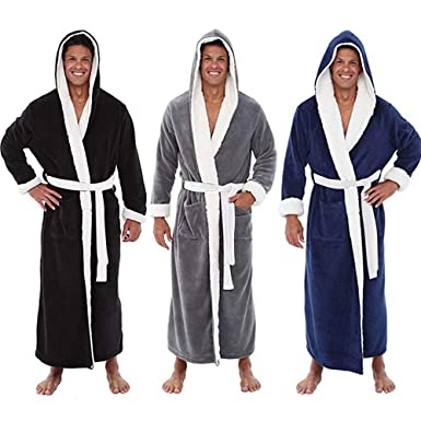 3de7c3e528 FeiliandaJJ Men s Winter Towelling Robe Plush Wrap Lengthened Shawl Collar  Bathrobe Home Clothes Robe Coat Dressing Gown Perfect for Gym Shower Spa  Hotel ...