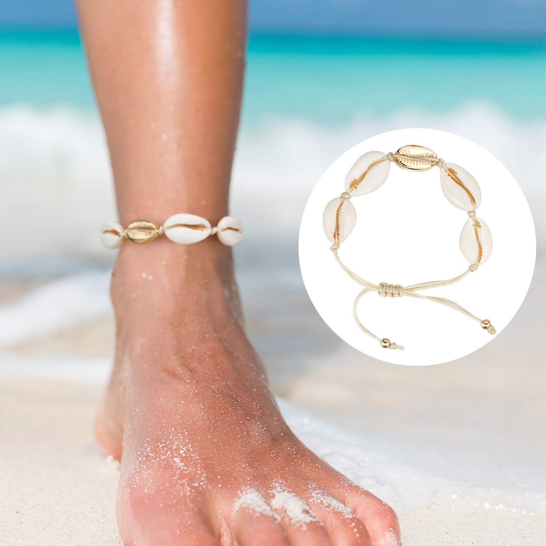 meekoo 8 Unidades de Concha Natural Collares Cowrie Shell Gargantilla Pulseras Ajustable Boho Hawaii Sea Beach Choker Set para Mujeres Ni/ñas