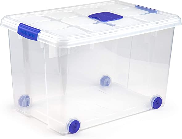 PLASTIC FORTE, Caja de almacenamiento, TRANSPARENTE, 55 Litros, con ruedas: Amazon.es: Hogar