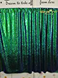 ShinyBeauty Mermaid-Sequin Curtain Backdrop-Green&Black-10FTx8FT,Sparkyly Sequin Fabric Curtain Backdrop,Perfect for Party/Wedding/Event/Prom/Birthday