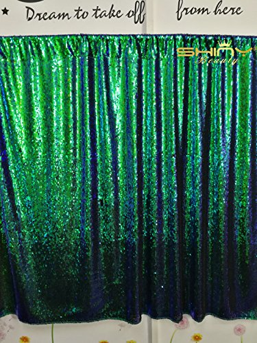 ShinyBeauty Mermaid-Sequin Curtain Backdrop-Green&Black-10FTx8FT,Sparkyly Sequin Fabric Curtain Backdrop,Perfect for Party/Wedding/Event/Prom/Birthday by ShinyBeauty