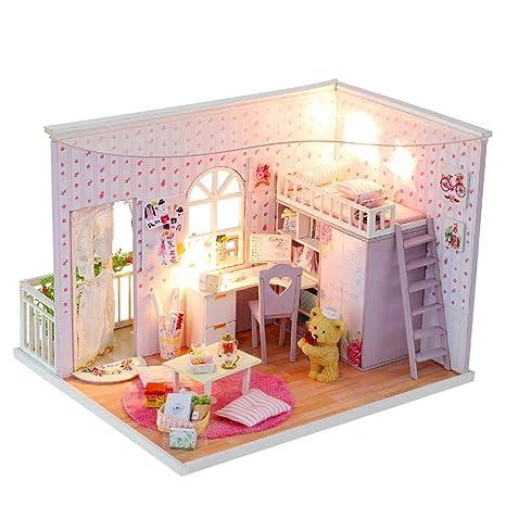 Luoluoluo Case Delle Bambole Portatile Diy Bambole Casa Di Legno