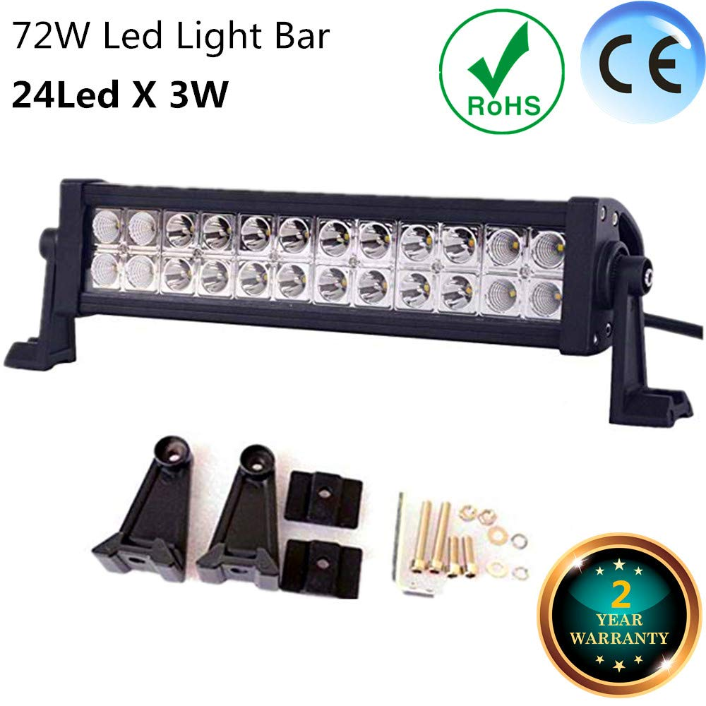 LED Light Bar 16 Inch 72W FSYF LED Work Lights Combo LED Driving Lights Jeep Off Road Lights Boat Lighting 2 Year Waranty 6000-6200k Waterproof For Suv Atv 4wd Truck Heavy Duty Vehicle (16 inch)