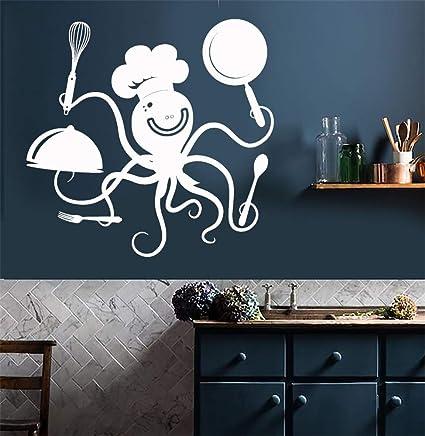 pegatinas de pared Cocina Funny Octopus Chef Ollas y sartenes ...