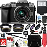Panasonic LUMIX G7 Interchangeable Lens 4K Silver DSLM Camera with 14-42mm Lens + 64GB SDXC Memory Card + Gadget Bag + 52mm Filter Kit + Flash + Microfiber Cloth + Card Reader + Mini Tripod & More