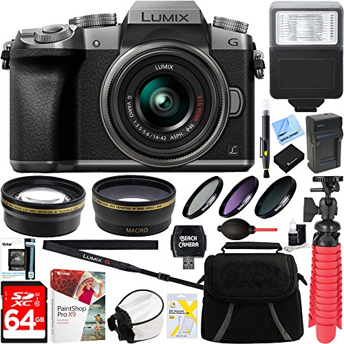 Panasonic LUMIX G7 Interchangeable Lens 4K Silver DSLM Camera with 14-42mm Lens + 64GB SDXC Memory Card + Gadget Bag + 52mm Filter Kit + Flash + Microfiber Cloth + Card Reader + Mini Tripod & More by Panasonic
