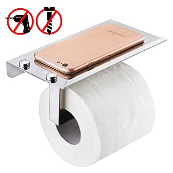 No Drilling Toilet Paper Holder, Wall Mounted 304 Stainless Steel Roll  Tissue Holder With