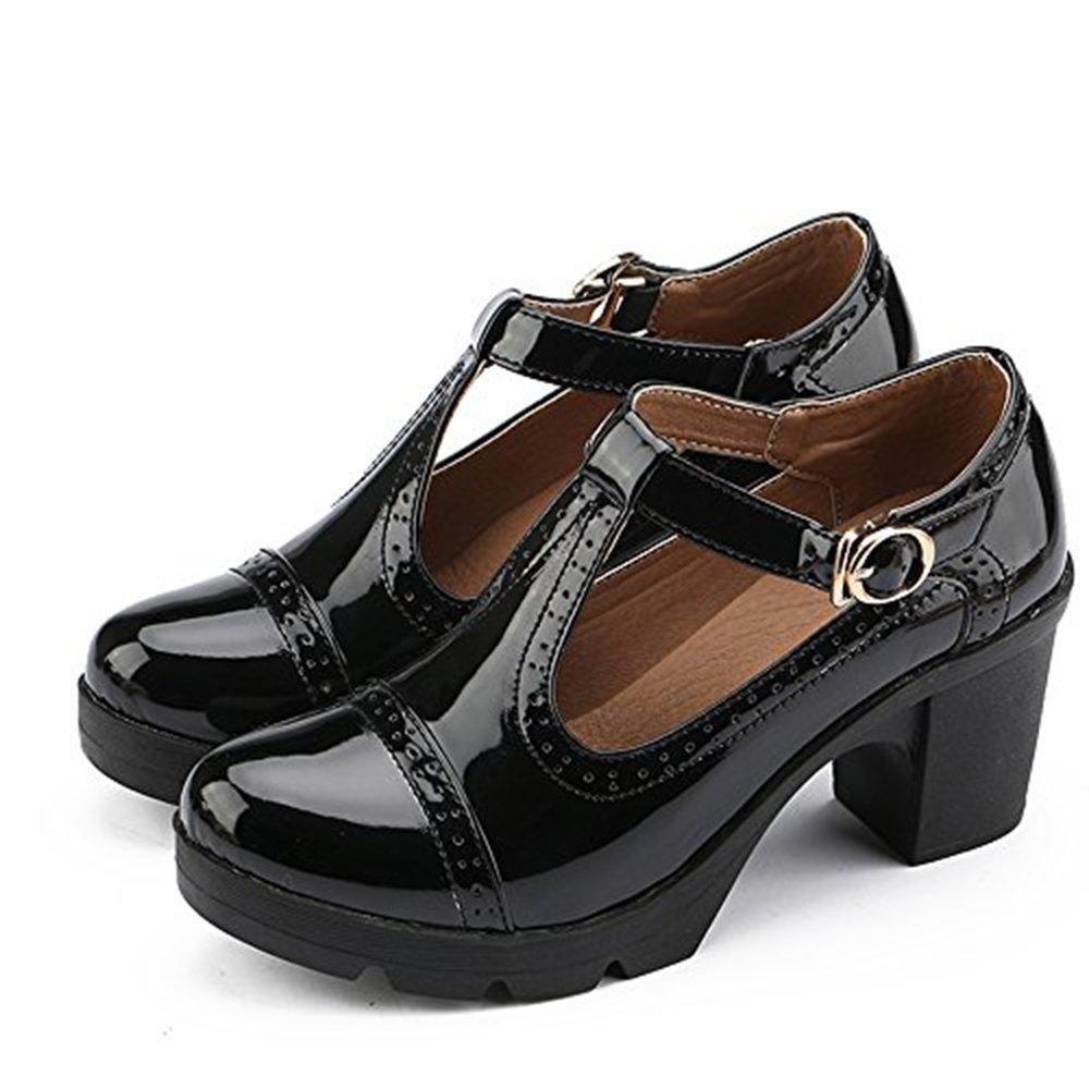 Ezkrwxn Women's Classic T-Strap Platform Mid-Heel Square Toe Oxfords Dress Shoes (777-black-39)