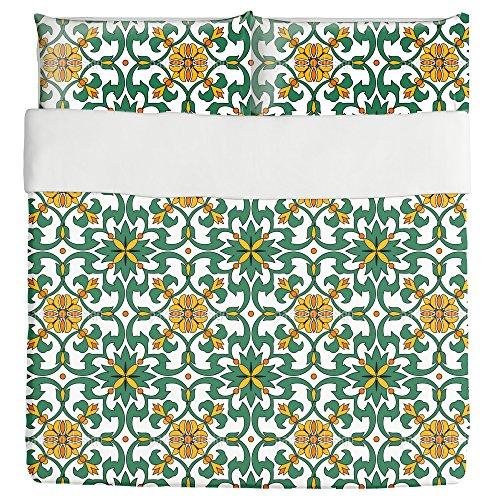 Espana Floral Duvet Bed Set 3 Piece Set Duvet Cover - 2 Pillow Shams - Luxury Microfiber, Soft, Breathable by uneekee