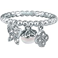 AoedeJ Butterfly Four Leaf Clover Freshwater Pearl Beaded Ring 925 Sterling Silver CZ Ring Her