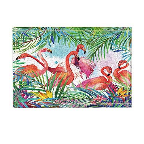 NYMB KOTOM Tropical Birds Decor, Watercolor Flamingo in Flowers with Palm Leaves Bath Rugs, Non-Slip Doormat Floor Entryways Indoor Front Door Mat, Kids Bath Mat, 15.7x23.6in, Bathroom Accessories
