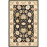 "Safavieh Chelsea Collection HK501A Hand-Hooked Black and Beige Premium Wool Area Rug (5'3"" x 8'3"")"