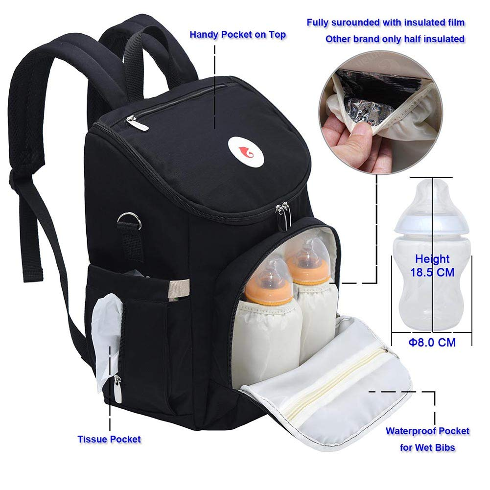 Lightweight Change Bag with 1 Waterproof Changing Mat and Pram Hooks Wide-Easy-Open iDxiar Nappy Backpack Navy Baby Changing Bag Rucksack