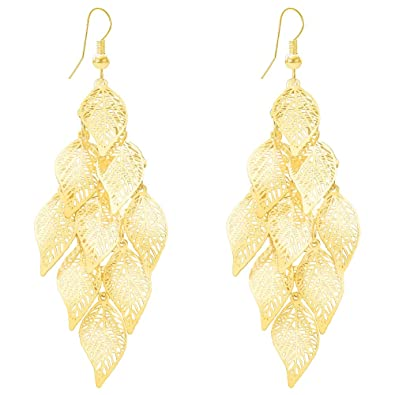 fc357a6cebd1d3 Amazon.com: Delicate Golden Filigree Lightweight Hollow Multi Layer Tiered  Chandelier Leaf Dangle Earrings for Women: Jewelry