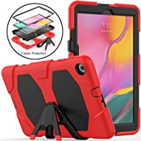 Neepanda Case for Galaxy Tab A 10.1 2019 SM-T510/T515, Full Body Rugged Shockproof Kickstand Protective Case with Built-in Screen Protector for Samsung Galaxy Tab A 10.1 2019 Release-Black Red