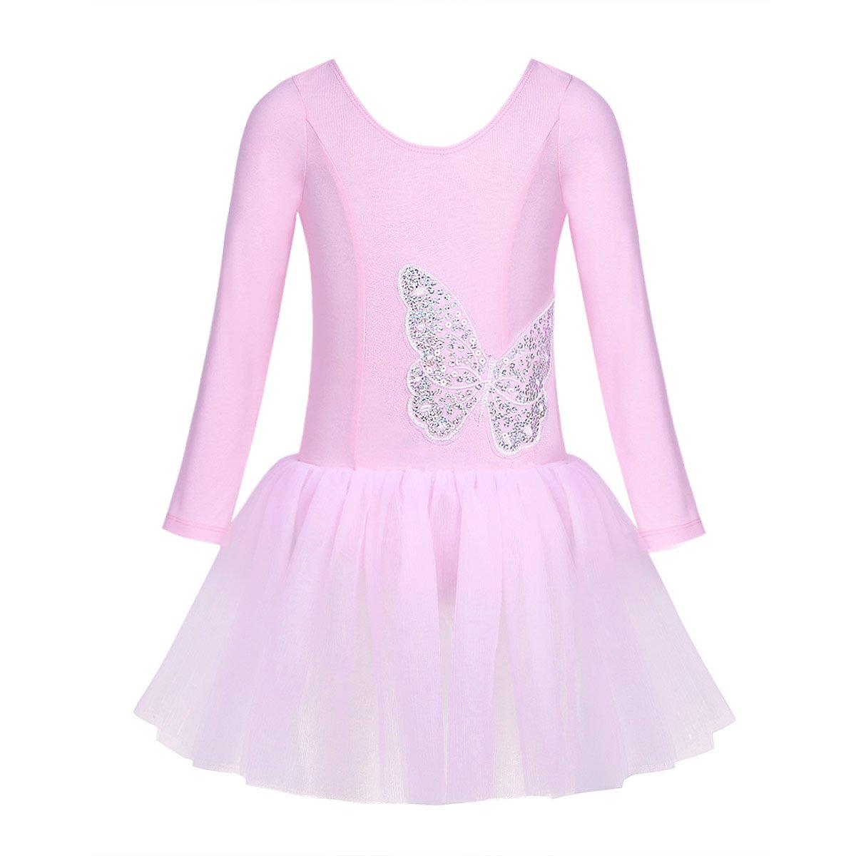 Freebily Ballet Filles Leotard Justaucorps de Gymnastique Danse Classique Robe de Ballet Coton Tulle Robe à Manches Longues Paillettes Papillon pour Performance 3-10 Ans