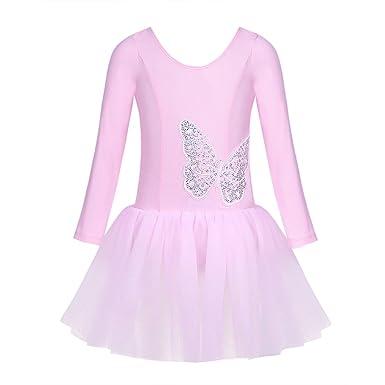 YiZYiF Enfant Fille Justaucorps de Danse Gymnastique Tutu Robe de Ballet  Robe à Papillon Robe Princesse dcdaa5a4625