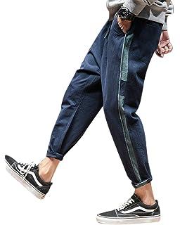 DianShaoA Cómodos Pantalones Cagados para Hombres Y Pantalones Hippies  Cinturón Elástico Casual Pantalones Harem 443826908dbc