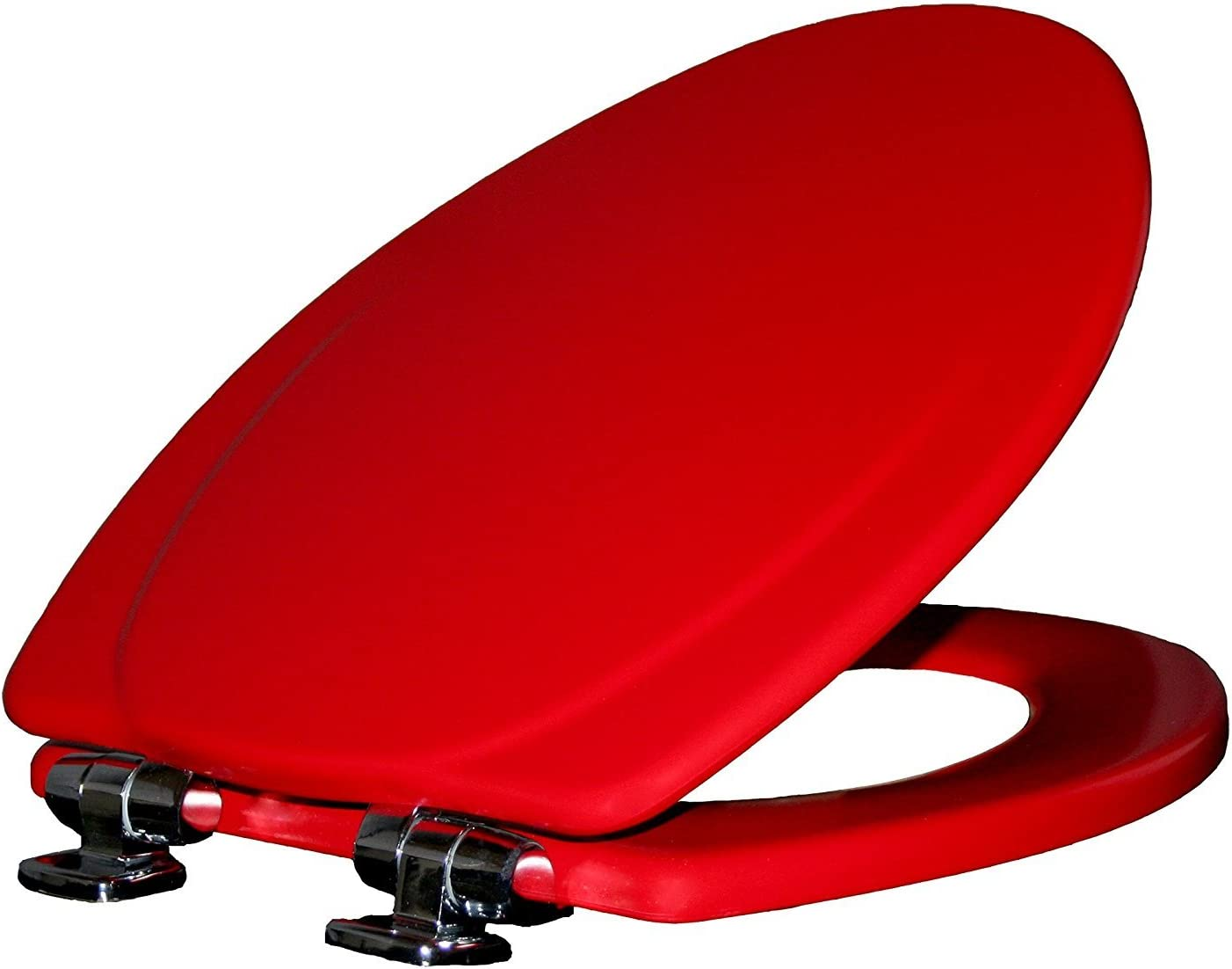 MAYFAIR Toilet Seat with Chrome Hinges will Slow Close and Never Come Loose, ELONGATED, Durable Enameled Wood, Red, 130CHSLB 613