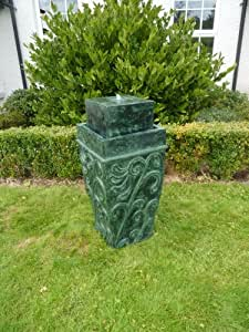 Green Antique Ornate Vase Led Lit Garden Water Feature