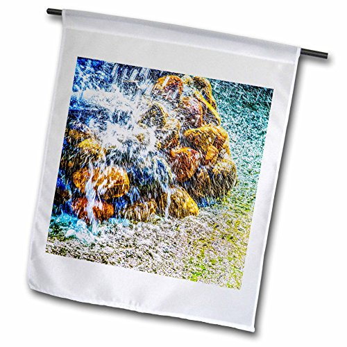 3dRose Alexis Photography - Objects - Violent water jets over the fountain stones - 18 x 27 inch Garden Flag (fl_270877_2) by 3dRose