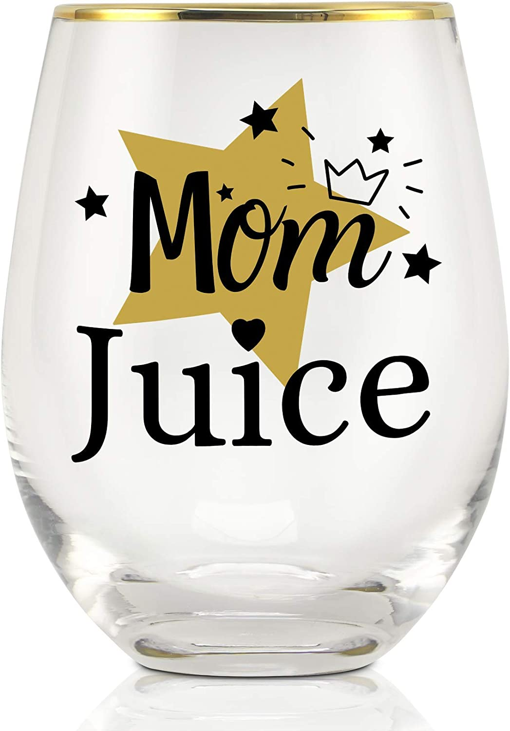 Onebttl Funny Mom Gifts from Daughter, Son, for Birthday, Christmas, Baby Shower Gifts for New Mom, Stemless Wine Glasses - 18oz - Mom Juice