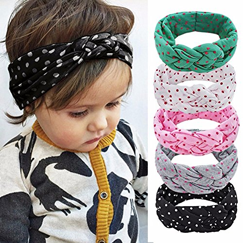 Feeshow 5Pcs Baby Girls Elastic Cotton Braided Turban Knot Polka Dot Headband, Multi - color, One Size