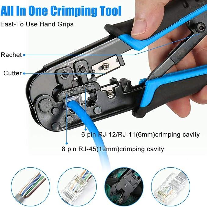 Nrpfell RJ45 RJ12 Crimpatrice di Rete 8P 6P Crimping Tools RJ45 Tool Stripper Crimping Tools