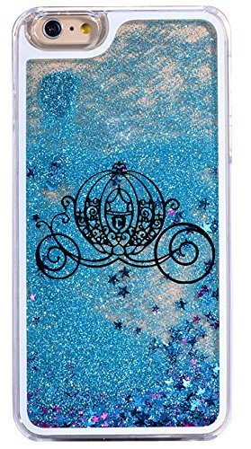 DECO FAIRY Compatible with iPhone 6 / 6s, Cartoon Anime Animated Blue Pumpkin Car Carriage Hard Dynamic Quicksand Glitter Phone Case Cover
