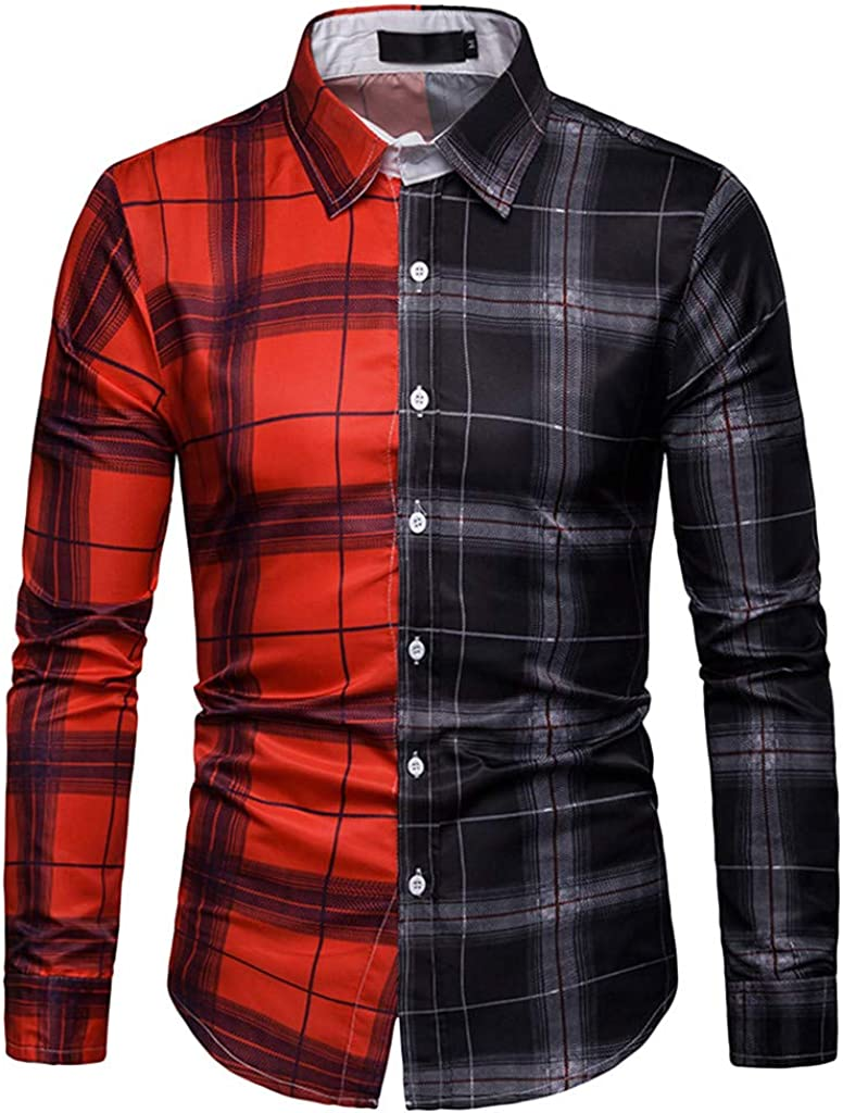 ReooLy Men/'s Long Sleeve Lattice Plaid Painting Patchwork Large Size Top Blouse Shirts